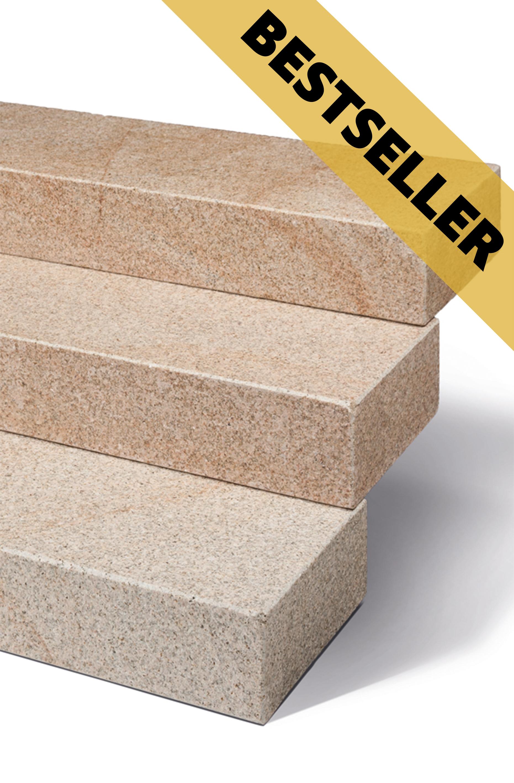 Blockstufen Sol: rötlich braun melierter Stein