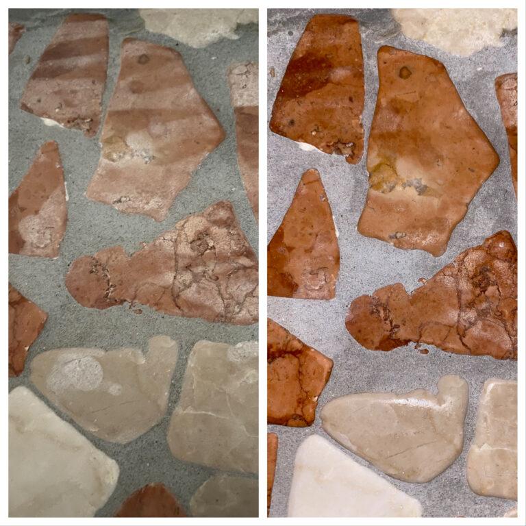 Vor (links) und nach (rechts) der Reinigung und Imprägnierung.