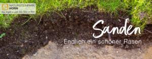 Sanden Bild: Querschnitt eines Rasens, Erde, Sand und Gräser