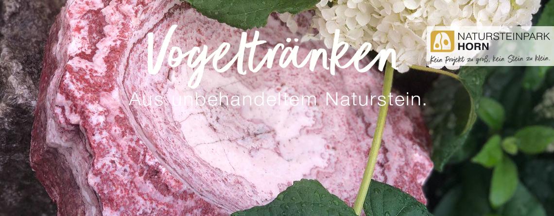Vogeltränken und Vogelbad aus Naturstein. Unbehandelt in schönen Farben