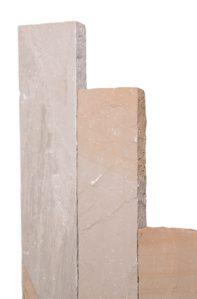 Palisaden BOLERO  -7-9x25cm-  zwei gegenüberliegende Seiten eben gespalten Längsseiten & Köpfe eben gespitzt  Herkunft: Indien  Farbe: beige-sand-grau-braun   Material: Sandstein